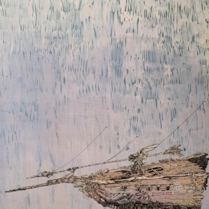 "Navire (1/4)<br> Acrilyque sur toile de lin - 73x92 cm <br> <span style=""color: darkgreen"";>DISPONIBLE</span>"