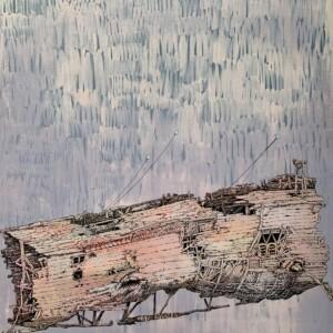 "Navire (2/4)<br> Acrilyque sur toile de lin - 73x92 cm <br> <span style=""color: darkgreen"";>DISPONIBLE</span>"