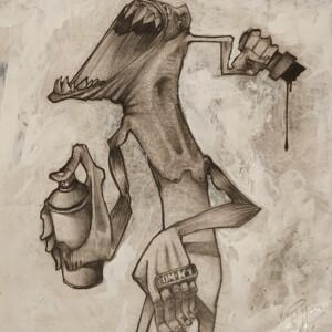 """1-019<br> 19 x 21 cm - Dessin original pour la réalisation d'un mur pour le projet Graffiti Instincts (2008) et mise en page dans l'ouvrage """"La France d'en bas""""<br> Crayon sur papier - 2008<br> <span style=""""color: darkgreen"""";>DISPONIBLE</span>"""