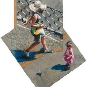 """La fleur du Mont Pincio<br> 120 x 88 cm - Ciment, résine, acrylique, plaquage chêne sur toile et bois <br> <span style=""""color: darkgreen"""";>DISPONIBLE</span>"""