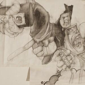 """2-019<br> 54,5 x 32,5 cm - Dessin original pour l'illustration de l'ouvrage """"HB Black Trace""""<br> Crayon sur papier - 2007<br> <span style=""""color: darkgreen"""";>DISPONIBLE</span>"""