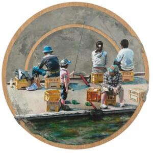 """Ichigaya Vue du Métro<br> Diamètre ø 130 cm - Ciment, résine, acrylique, plaquage chêne sur toile et bois <br> <span style=""""color: darkgreen"""";>DISPONIBLE</span>"""