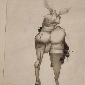 "AEROTIK<br> 29,5 x 42,5 cm - Crayon sur papier - 2006<br> <span style=""color: darkgreen"";>DISPONIBLE</span>"