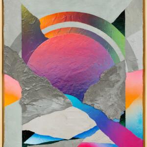 """Rêve de Montagne<br> 82x65cm - Ciment résine acrylique peinture aérosol sur bois <br> <span style=""""color: darkred"""";>PLUS DISPONIBLE</span>"""