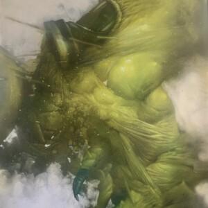 """Dominant #5<br> 130 x 97 cm - Acrylique et aérosol sur toile - 2019<br> <span style=""""color: darkgreen"""";>DISPONIBLE</span>"""