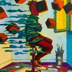 """OLIVIER BONHOMME – Autoportrait à la face écrasée<br> <span style=""""color: darkgreen"""";>DISPONIBLE</span>"""