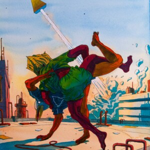 """OLIVIER BONHOMME – Paperbug man fighting hours on the rooftop<br> <span style=""""color: darkgreen"""";>DISPONIBLE</span>"""