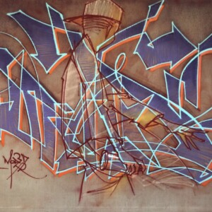 """MD2<br> 200 x 248 cm - Pastel, acrylique et aérosol sur toile en lin - 2018 <br> <span style=""""color: darkred"""";>Plus DISPONIBLE</span>"""