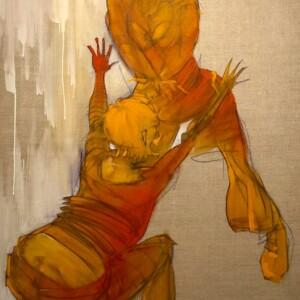 """Girl gotta rythm<br> 150 x 90 - Pastel et acrylique sur toile de lin - 2008<br> <span style=""""color: darkgreen"""";>DISPONIBLE</span>"""