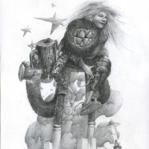 """My Bête Friend<br> 40 x 29,5 cm - crayon sur papier - 2020 <br> <span style=""""color: darkgreen"""";>DISPONIBLE</span>"""