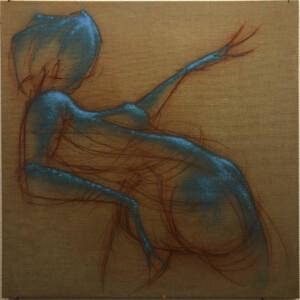 """Torsion<br> 120 x 120 cm - Pastel, acrylique et aérosol sur toile de lin brut - 2020<br> <span style=""""color: darkgreen"""";>DISPONIBLE</span>"""