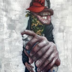 """URABAN KONTORSION<br> 130 x 97 cm - Acrylique et aérosol sur toile - 2019<br> <span style=""""color: darkgreen"""";>DISPONIBLE</span>"""