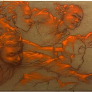 """Urgency<br> 120 x 190 cm - Pastel, acrylique et aérosol sur toile de lin brut - 2020 <br> <span style=""""color: darkgreen"""";>DISPONIBLE</span>"""