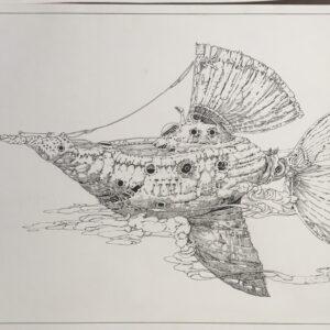 """cloudfish<br> Encre sur papier canson 300gr- 30x40 cm2021<br> <span style=""""color: darkgreen"""";>DISPONIBLE</span>"""