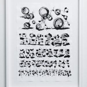 """EyeChart 14<br> Encre et aerosol sur papier - 70x100 cm - 2012 <br> <span style=""""color: darkgreen"""";>DISPONIBLE</span>"""