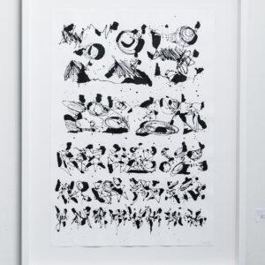 """eyeChart 13 <br> Encre sur papier  - 70x100 cm - 2012 <br> <span style=""""color: darkgreen"""";>DISPONIBLE</span>"""