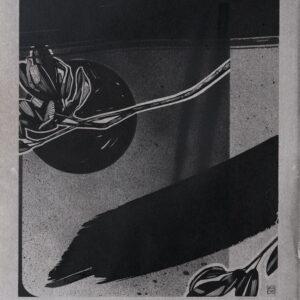 """Creation Myth<br> Encre et aérosol sur papier - 22 x 26 cm - 2021 <br> <span style=""""color: darkgreen"""";> DISPONIBLE</span>"""