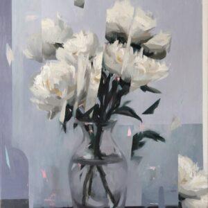"""Fractured I <br> Peinture à l'huile sur toile de lin - 60 x 73 cm - 2021 <br> <span style=""""color: darkred"""";> PLUS DISPONIBLE</span>"""