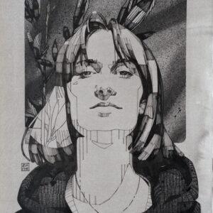"""La Lena<br> Encre et aérosol sur papier - 23x27,5 cm - 2021 <br> <span style=""""color: darkgreen"""";> DISPONIBLE</span>"""