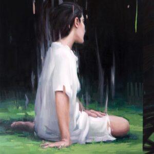 """Revery<br> Peinture à l'huile sur toile de lin - 81x100 cm - 2021 <br> <span style=""""color: darkred"""";>PLUS DISPONIBLE</span>"""