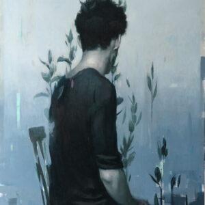 """Selfless<br> Peinture à l'huile sur toile de lin - 120x85 cm - 2021 <br> <span style=""""color: darkgreen"""";>DISPONIBLE</span>"""