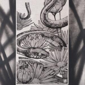 """Serpentine <br> Encre et aérosol sur papier - 21x29 cm - 2021 <br> <span style=""""color: darkgreen"""";>DISPONIBLE</span>"""