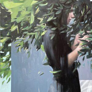 """Encounter<br> Peinture à l'huile sur toile de lin - 85 x 120 cm - 2021 <br> <span style=""""color: darkgreen"""";> DISPONIBLE</span>"""