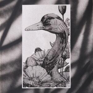 """GRUS<br> Encre et aérosol sur papier - 21 x 28 cm - 2021 <br> <span style=""""color: darkgreen"""";> DISPONIBLE</span>"""