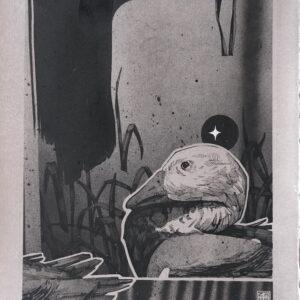 """HONK<br> Encre et aérosol sur papier - 29 x 35 cm - 2021 <br> <span style=""""color: darkgreen"""";> DISPONIBLE</span>"""