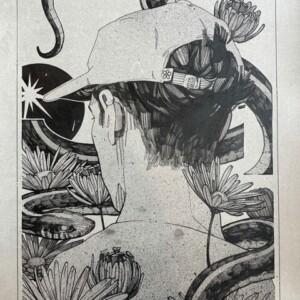 """Dialect<br> Encre et aérosol sur papier - 29 x 39 cm - 2021 <br> <span style=""""color: darkgreen"""";> DISPONIBLE</span>"""