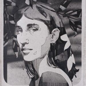 """La Mirada<br> Encre et aérosol sur papier - 23 x 30 cm - 2021 <br> <span style=""""color: darkgreen"""";>DISPONIBLE</span>"""