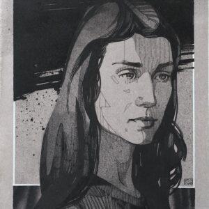 """Revelation<br> Encre et aérosol sur papier - 22 x 30 cm - 2021 <br> <span style=""""color: darkgreen"""";>DISPONIBLE</span>"""